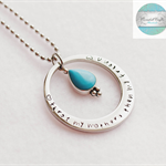 Luxurious Silver Names Pendant with turquoise Charm & Necklace.