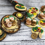 Gumnut Babies - Natural Button Jewellery - Bonus Earrings - Necklace