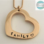 Personalised Names Pendant Rose Gold Love Heart. Personalise with your own names