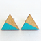 Wood Triangle Turquoise Earrings