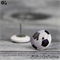 Soccer Football - Buttons - Button Stud Earrings - Grey Black and white