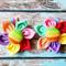 Pair of Rainbow Fabric Flower Hair Clips