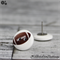 Football  - Rugby AFL Union - Buttons - Button Stud Earrings - Brown and white