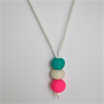Pink, White and Teal Polymer Clay Handmade Necklace - Pendant style