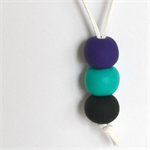 Purple, Teal and Black Polymer Clay Handmade Necklace - Pendant style