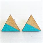Wood Triangle Turquoise Earrings