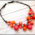 Bright Bead Orange & Silver Bib Statement Necklace