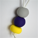 Yellow Purple and Grey Polymer Clay Handmade Necklace - Pendant style