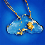 Gold fleck resin cloud pendant