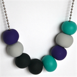 Teal, Purple, Grey and Black Polymer Clay Handmade Necklace