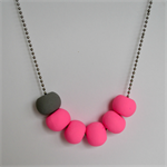 Pink and Grey Polymer Clay Handmade Necklace