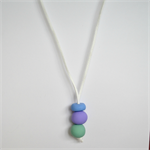 Pastel Blue, Green and Purple Polymer Clay Handmade Necklace - Pendant style