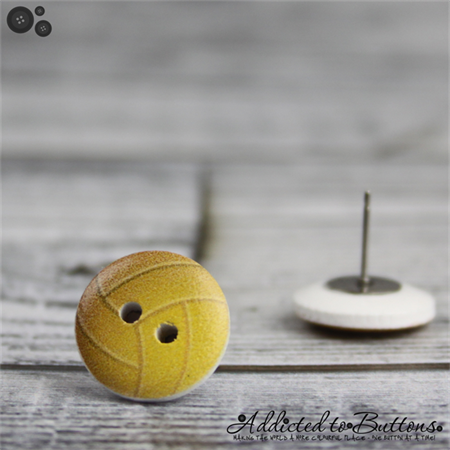 Volleyball or Netball - Buttons - Button Stud Earrings - Yellow and white