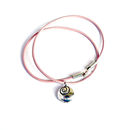 Pink Leather and Hill Tribe Silver Swirls Pendant