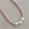 Girls pink pearl bead necklace