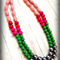 Bright Hot Pink Silver & Green Multi strand Bead Statement Necklace