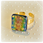RAINBOW Artisan Glass RING by Curly Jo