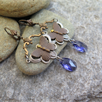 PURPLE FLIGHT, BUTTERFLY & SWAROVSKI EARRINGS