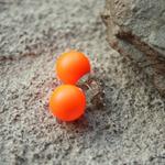 Large Neon Orange Swarovski pearl, Sterling Silver, stud earring