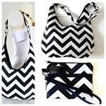 Hobo Handbag Purse and Wristlet SET in Black & White Chevron Fabric