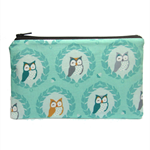 Peek a Boo Owls on Mint Zip Pouch / Zippered Case / Zipper Bag