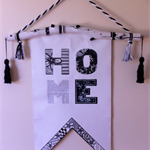 'HOME' mixed media wall hanging - made to order.