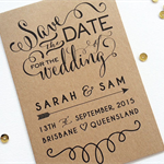 Magnetic Kraft Typography Save the Date Notecard