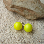 Large Neon Yellow Swarovski pearl, Sterling Silver, stud earring