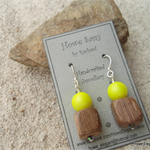 Swarovski Neon Yellow pearls, Wood, Sterling Silver, dangle earring