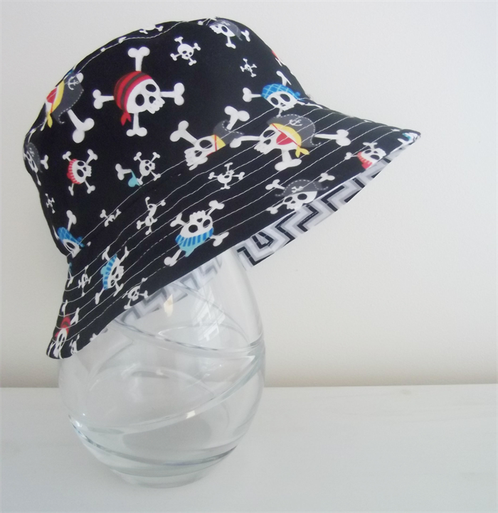 boys summer hat in cool pirate fabric pleats and treats
