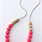 Washable Silicone & Natural Wood Necklace - Neon Pink