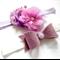 Purple chiffon flowers and matching felt bow headband pair