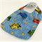 Baby Dribble Feeder Bib - Cars on Cotton Fabric, Bamboo Toweling, Snap Fastened.