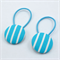 Button Hair Ties - turquoise blue stripe