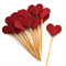 12 Red Love Heart Cupcake Toppers - Mini Hearts Valentine's Day