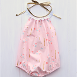 Darling playsuit Sizes 0000 - 2 Pink/Peach gold lace floral + matching headwrap