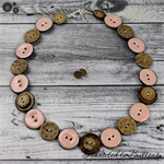 Coral pink Coconut Brown Buttons Necklace Button Jewellery - Earrings