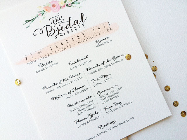 double sided typography wedding program fan misiu papier madeit