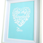 "Papercut Heart Bespoke Artwork - ""Valentine"", ""Marry Me"" or ""I Love you"" A4"