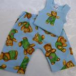 New Born - Teddy Bears Harem Pants & Appliqued Singlet