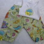 New Born- Baby Dinos Harem Pants & Appliqued Singlet