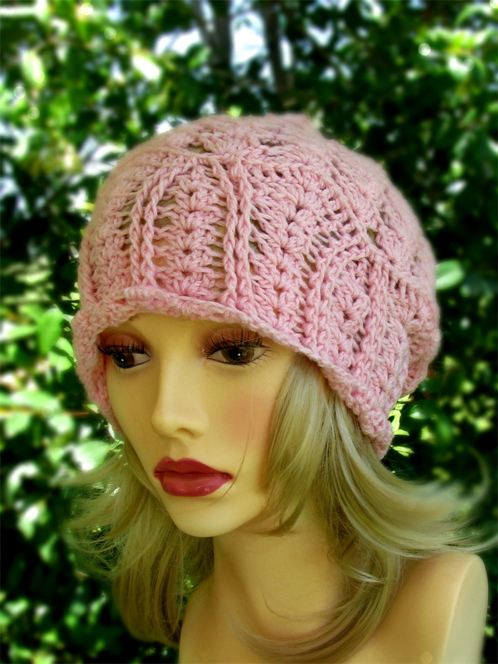 24fafb79be7 ... Women s pink hand crochet lacy slouchy hat