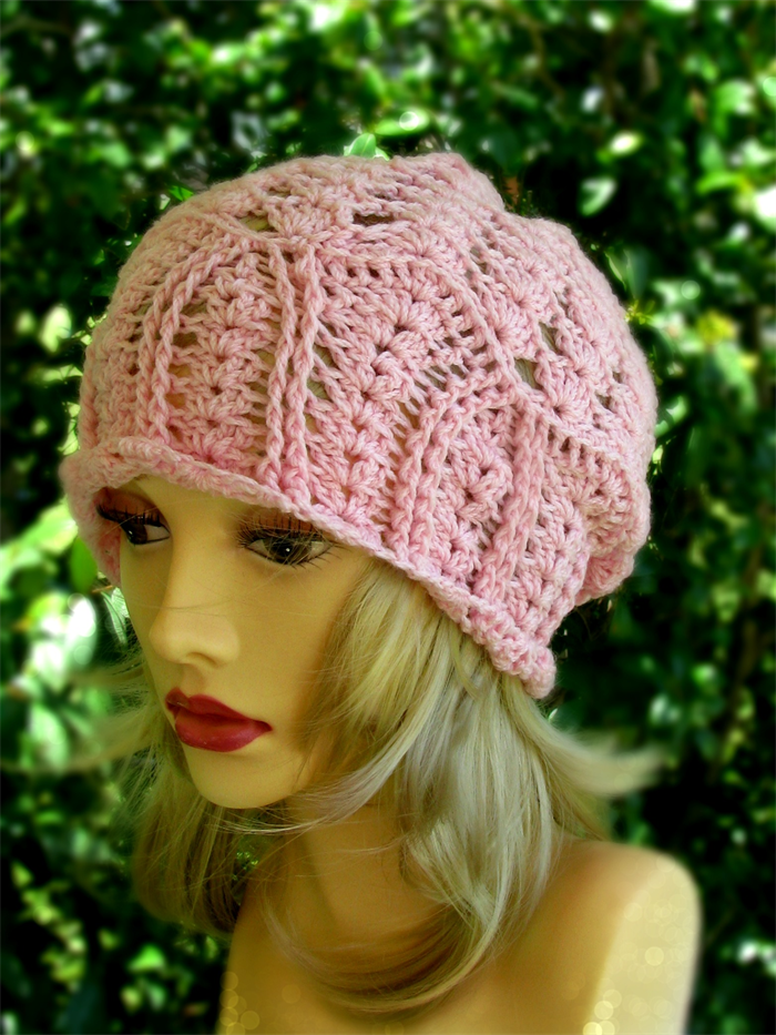 b7a87c44700 Women s pink hand crochet lacy slouchy hat
