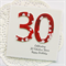 personalised 30th birthday card red blossoms
