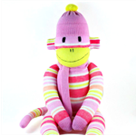 'Tess' the Tutti Frutti Striped Sock Monkey  - *ready to post*