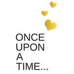 Once upon a time monochrome, faux gold foil, valentines day A4 print.