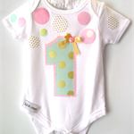 1st Birthday Outfit Pink, Mint & Gold Confetti  1st Birthday Design