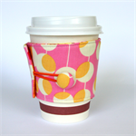 Coffee Cup Cuff/ Cosy - Golden Yellow Martini Dot Circles on Pink