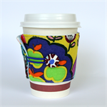Coffee Cup Cuff/ Cosy - Green Apples & a crazy Rainbow