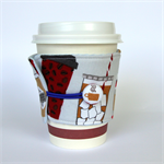 Coffee Cup Cuff/ Cosy - Sipping tasty coffee in the café.